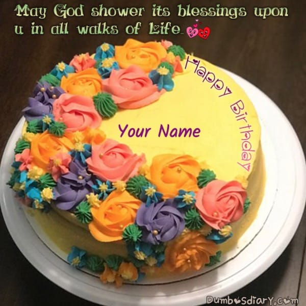 Multiple Color Roses Birthday Cake