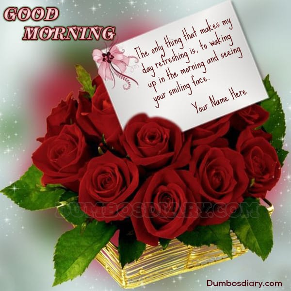 Red roses bucket morning wishes