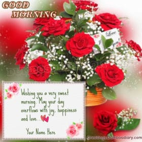 Red roses bouquet morning wishes
